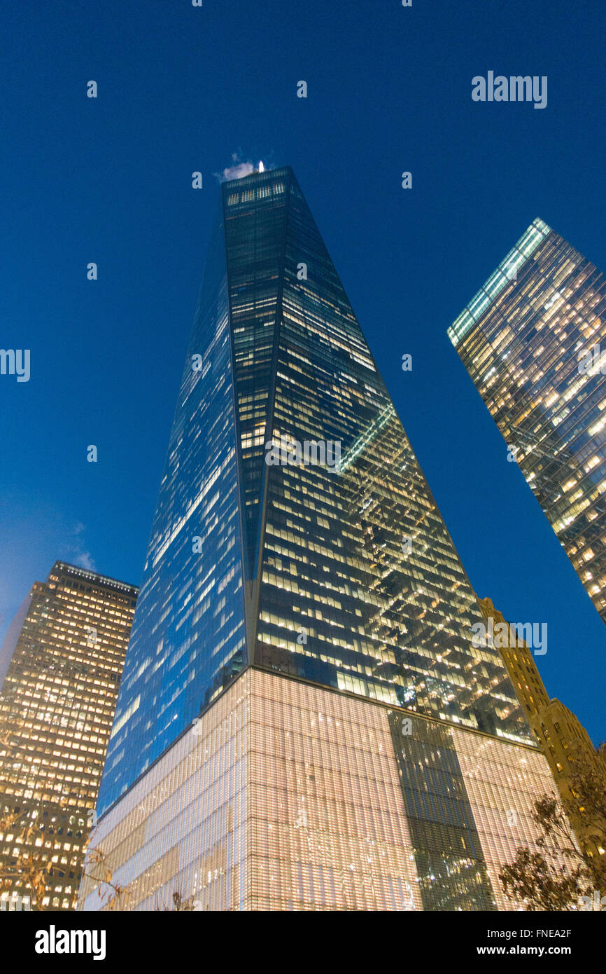 World Trade Center towers NYC one 1 Freedom top - Stock Image