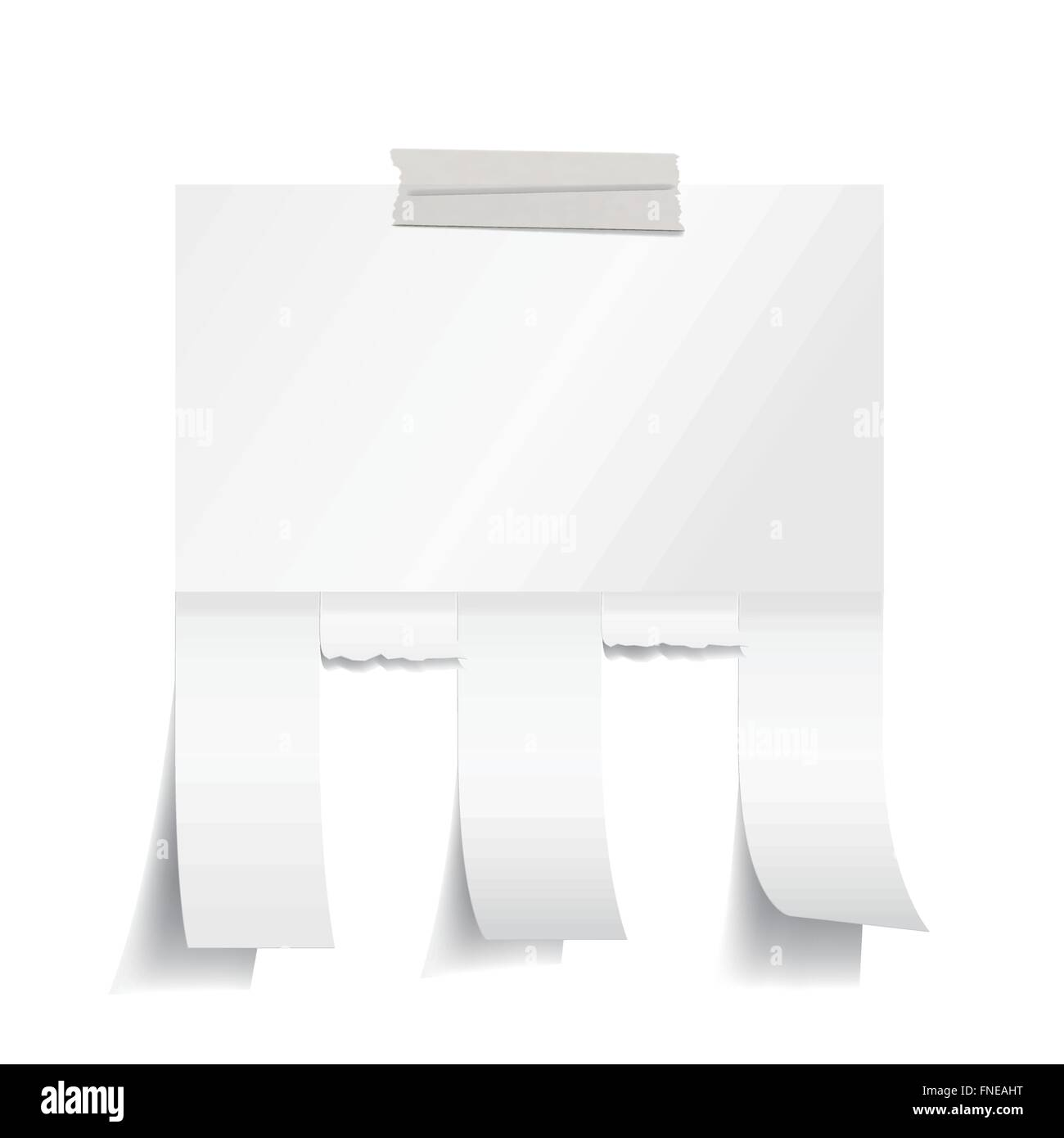 Blank white paper with tear off tabs - Stock Image