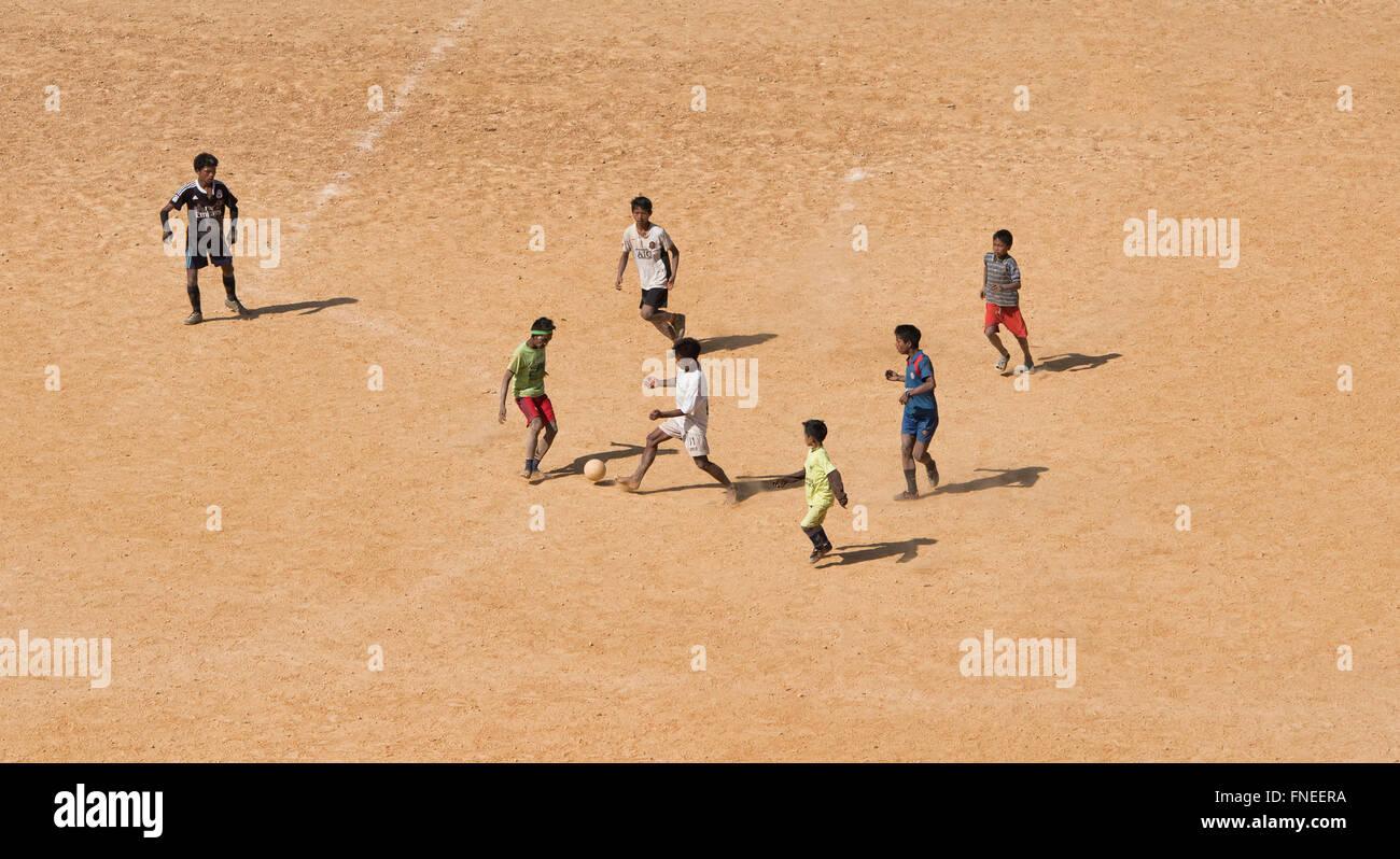 Local football match, Mindat, Chin State, Myanmar - Stock Image