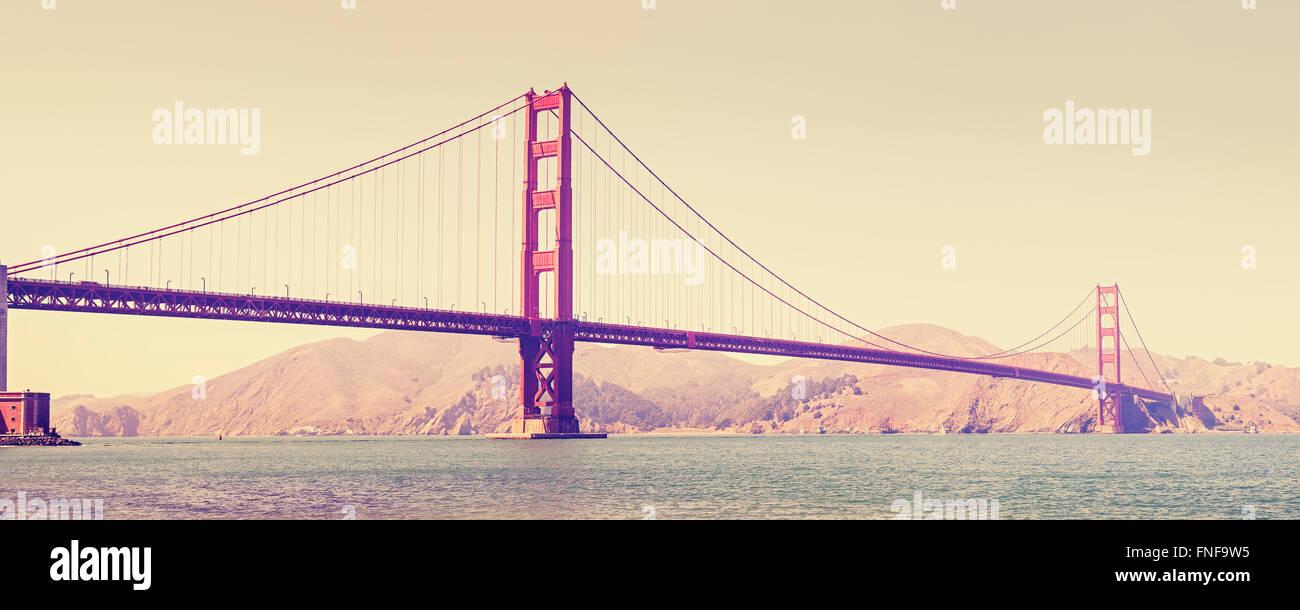 Old film retro stylized Golden Gate Bridge in San Francisco, USA. Stock Photo