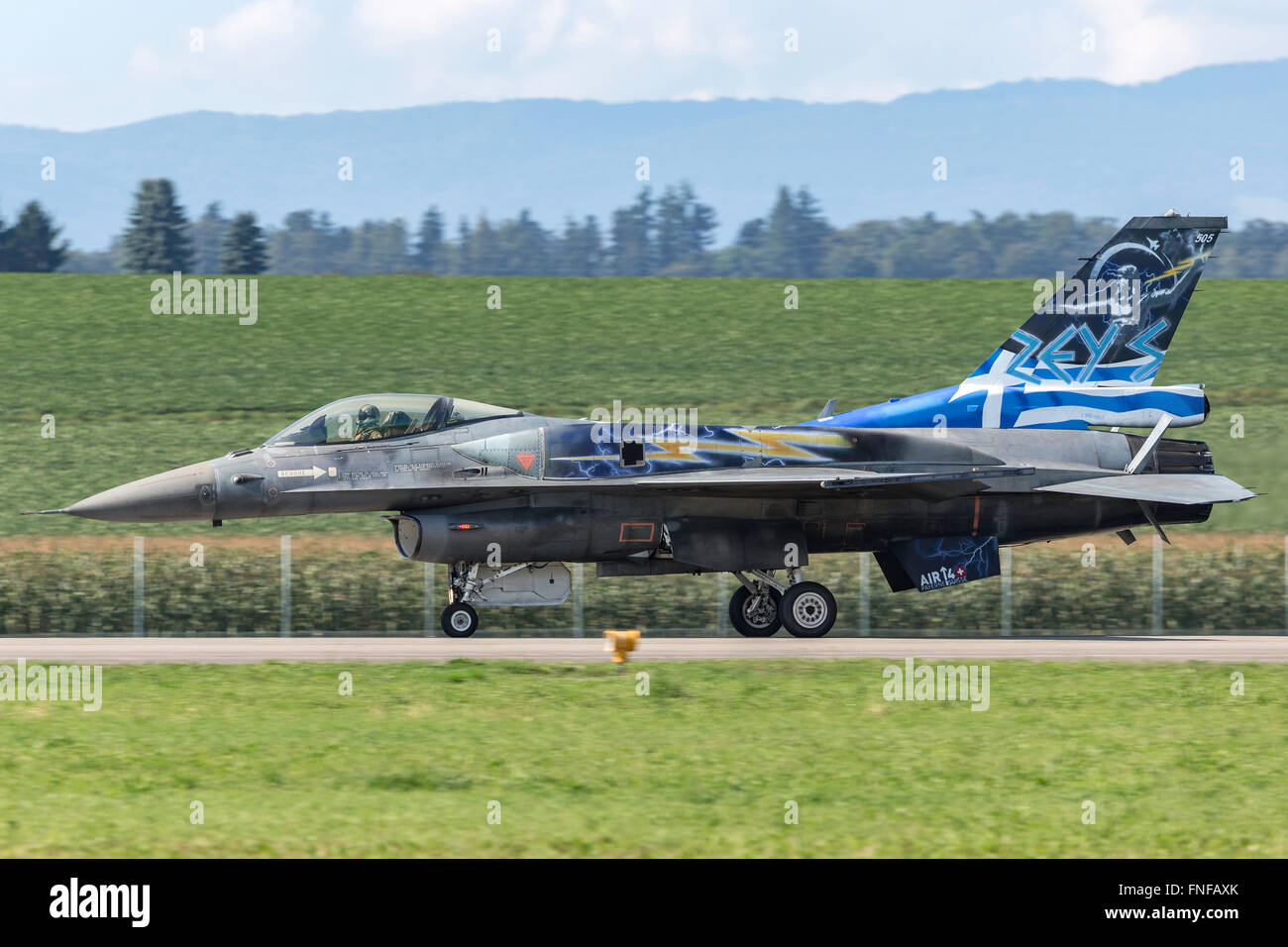 """Lockheed Martin F-16 Fighting Falcon marked in the special colours of the """"Zeus"""" display team from the Hellenic - Stock Image"""