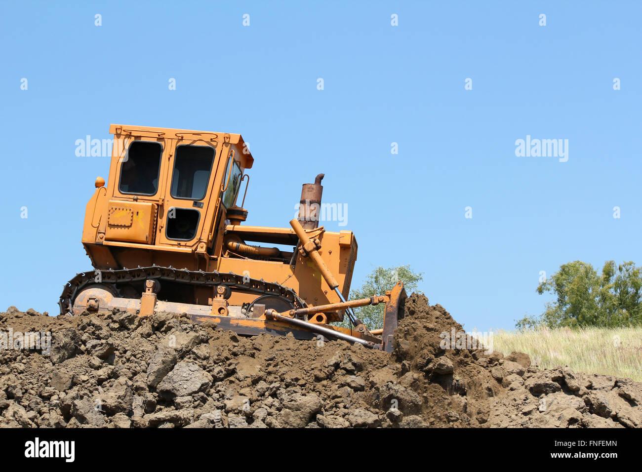 bulldozer on road construction - Stock Image