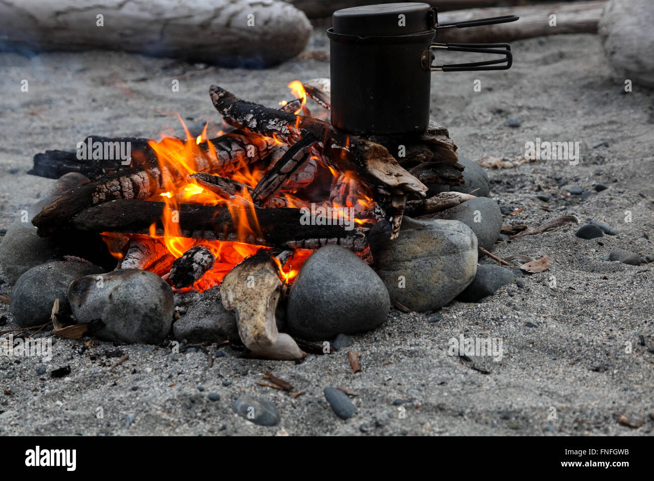 Backcountry cooking over a beach fire, Nootka Island, British Columbia - Stock Image
