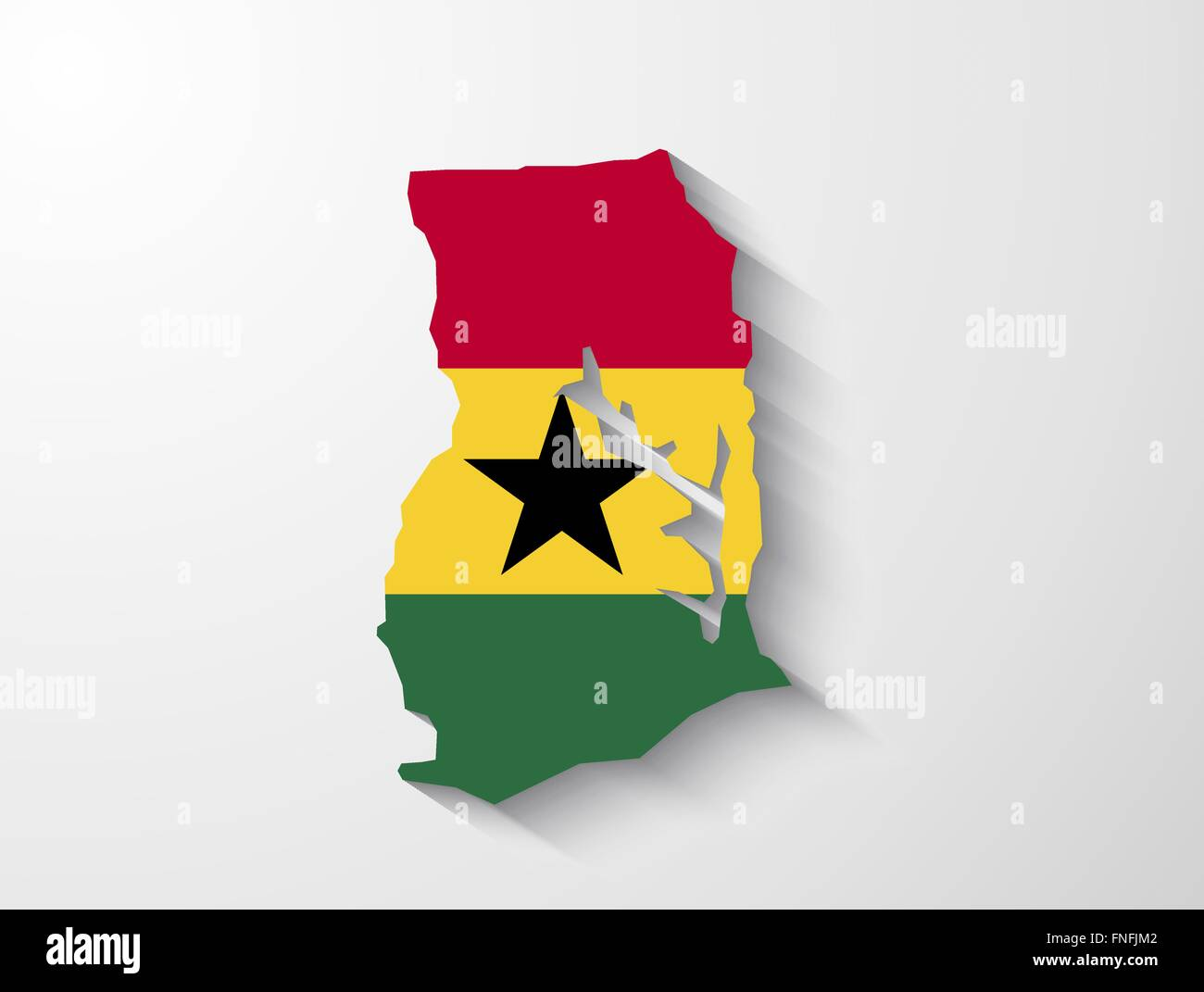 Ghana country map with flag and shadow effect presentation - Stock Vector