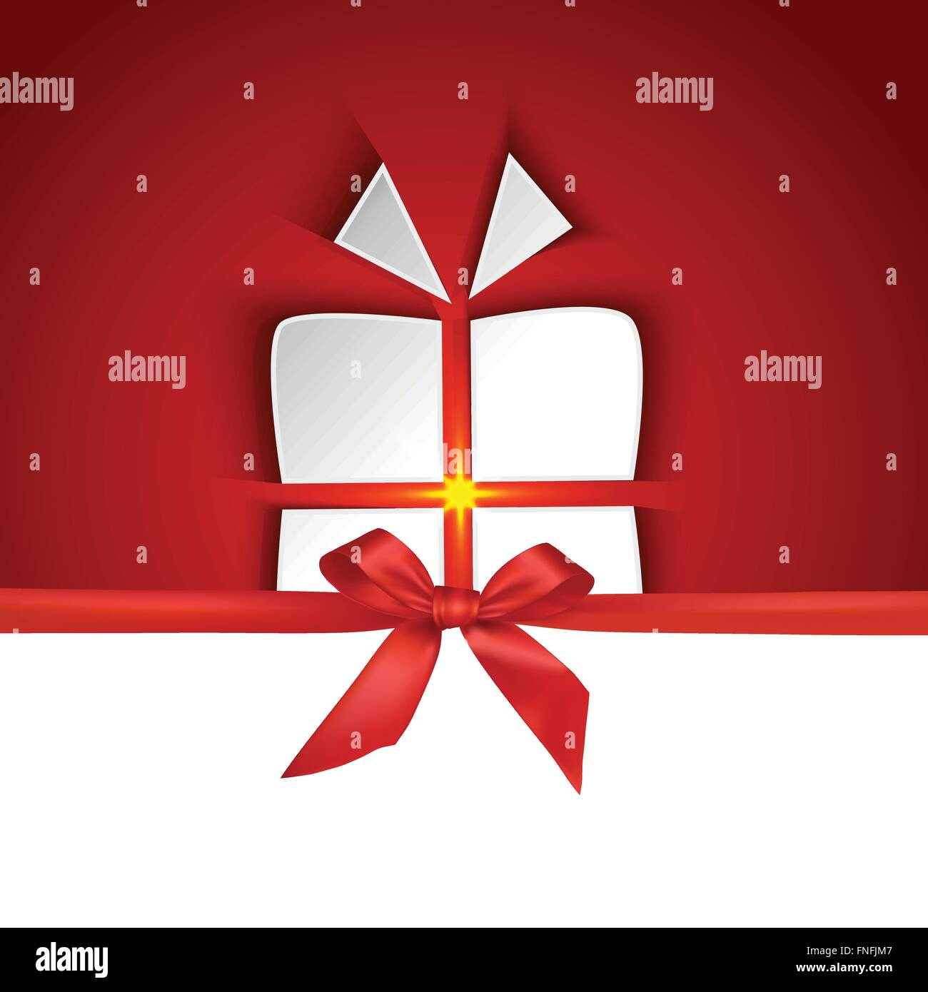 Gift box shape with red ribbon and shadow effect on red background - Stock Image