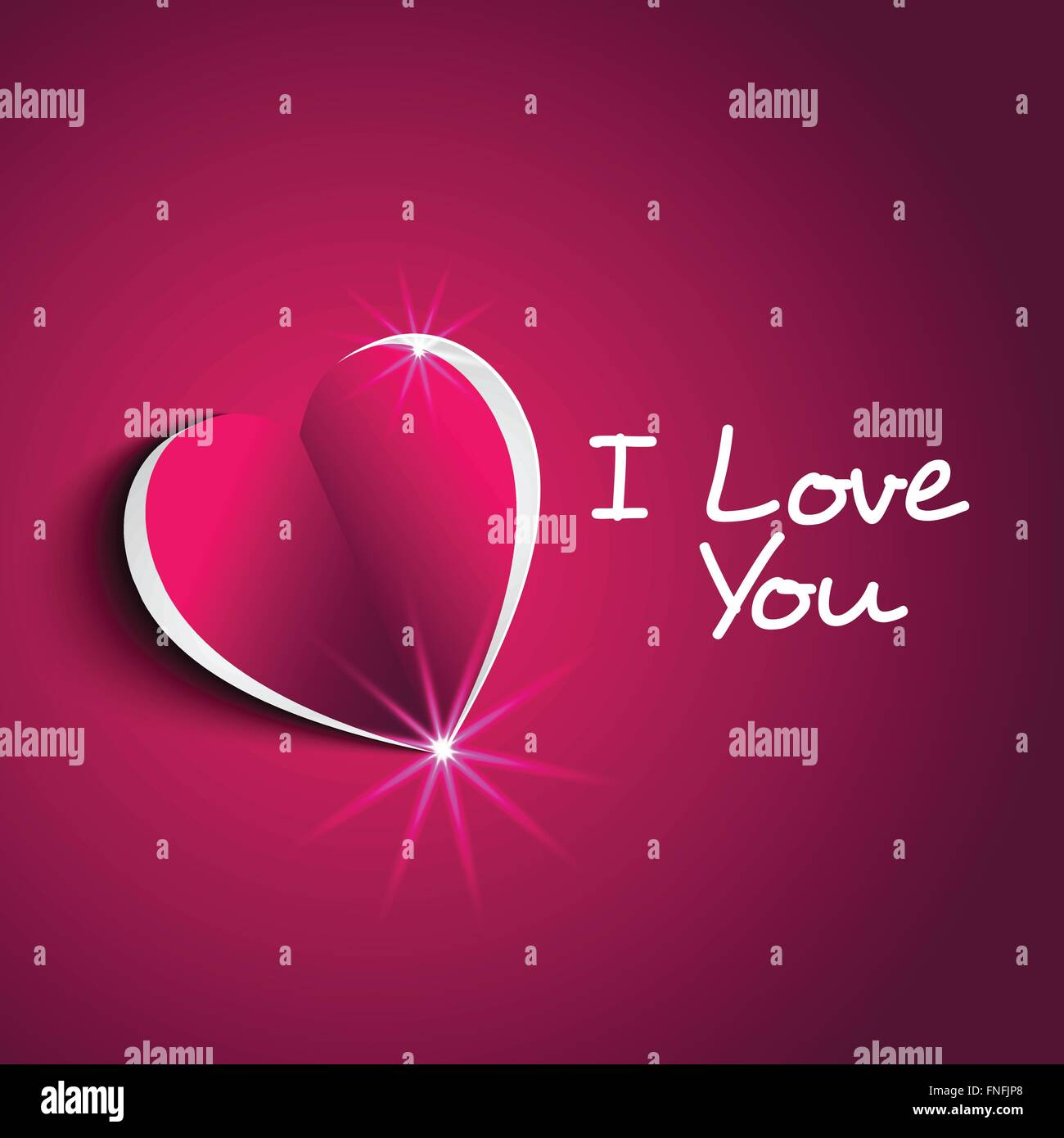 I Love You Message With Modern Paper Heart Shape In Cute Background