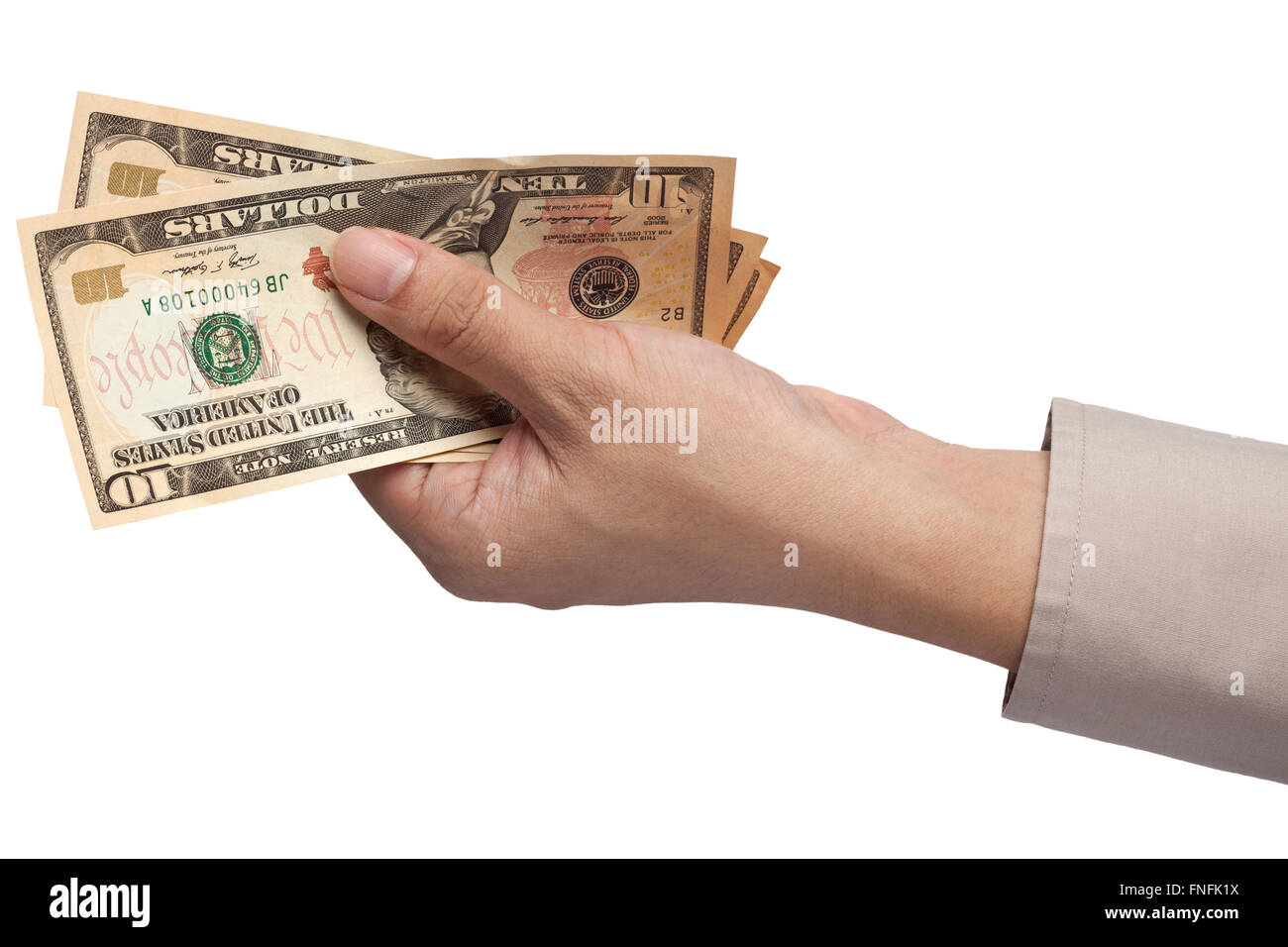 Hand holding US money isolated on white background - Stock Image