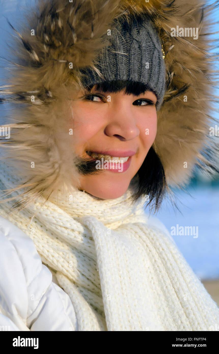 Portrait of young beautiful chukchi woman - Stock Image