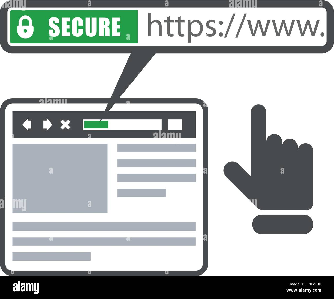 Secure online payment icon - green bar with ssl and browser - Stock Image