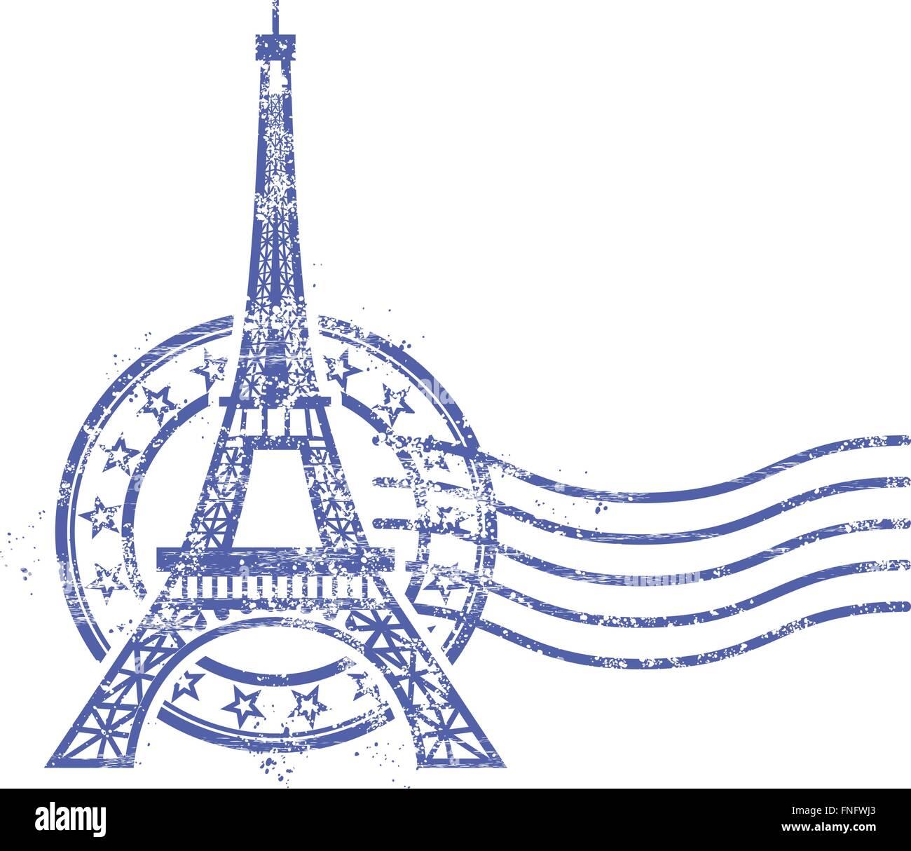 Grunge round stamp with Eiffel Tower - landmark of Paris - Stock Vector