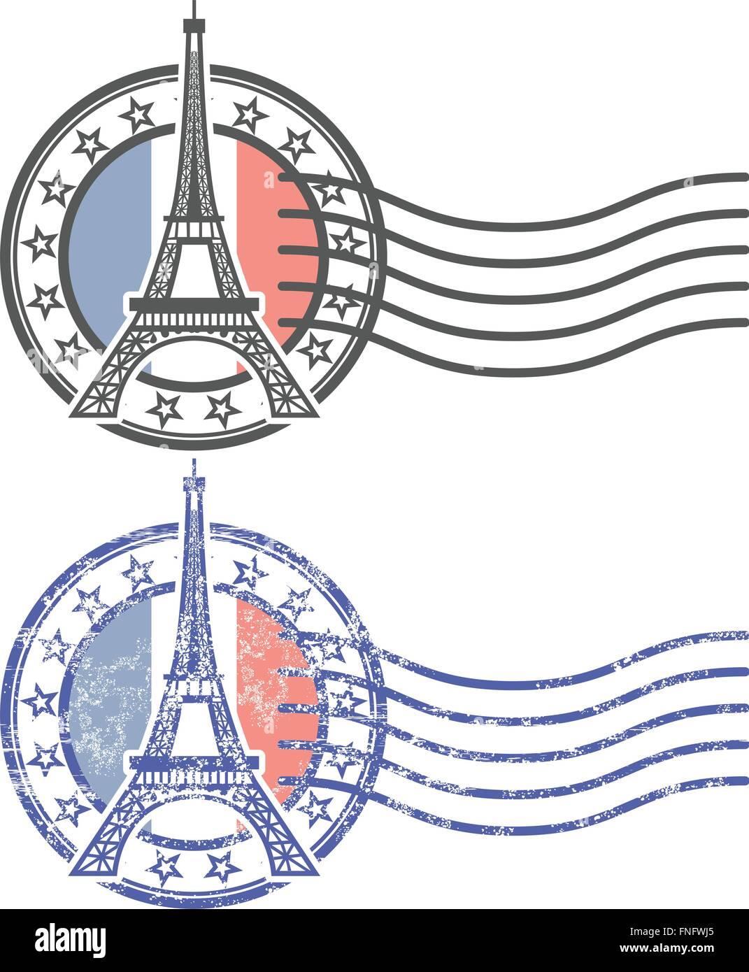 Grunge stamp with Eiffel Tower - landmark of Paris - Stock Vector
