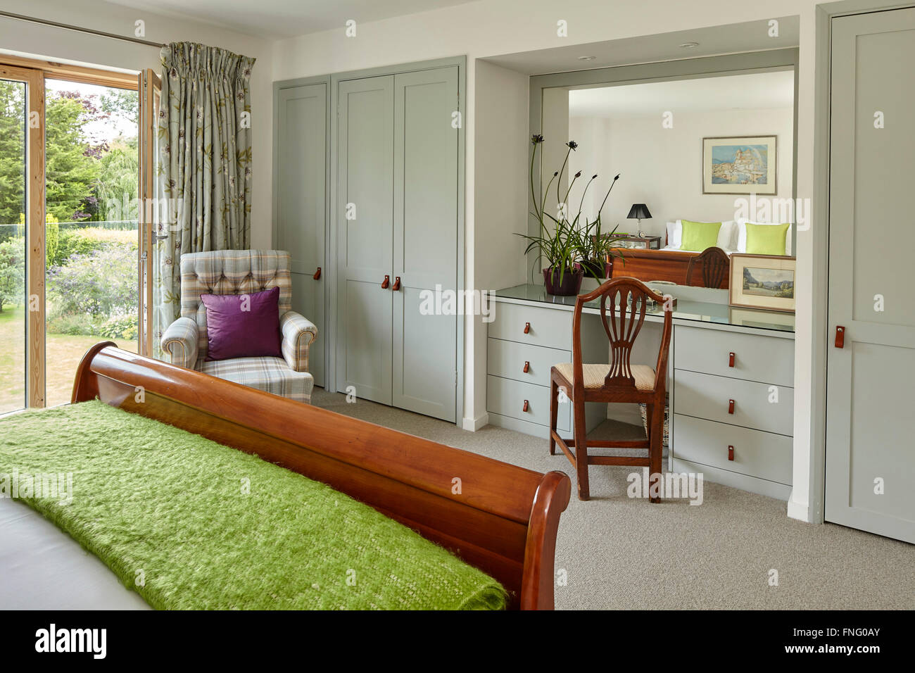 Bedroom Dressing Table Built In With Mirror Reflecting Sleigh Bed And  Window. Mill