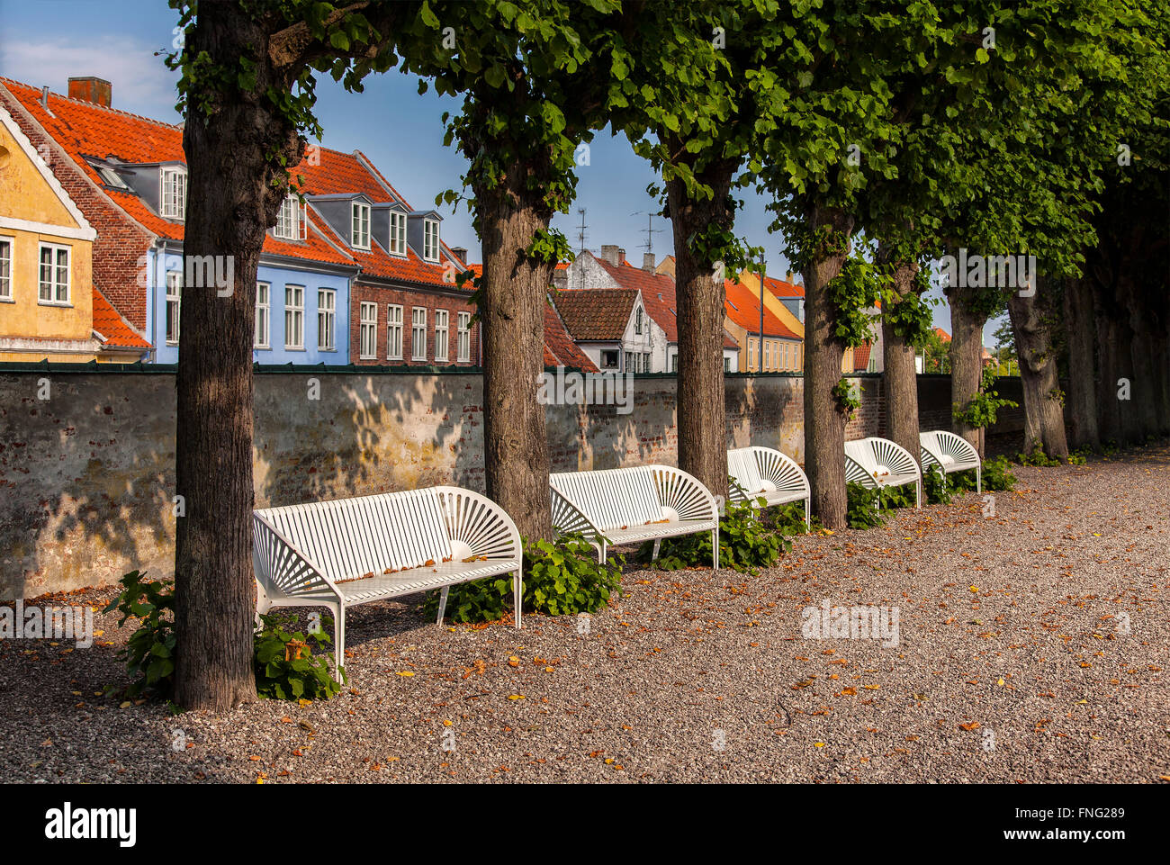 Image of a row of park benches. Helsingor, Denmark. - Stock Image