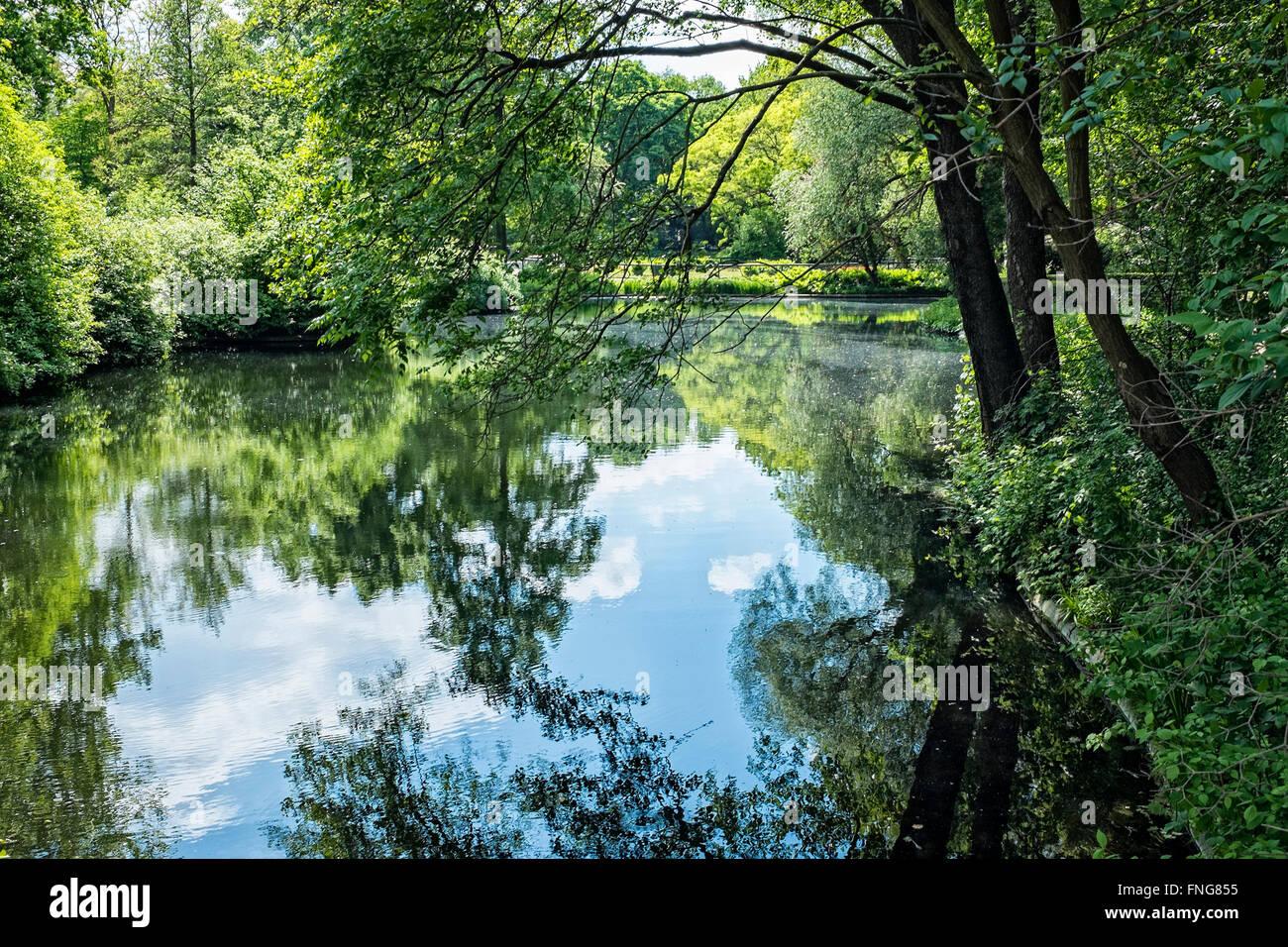 Peaceful lake In Tiergarten Public park in Summer, Berlin - Stock Image