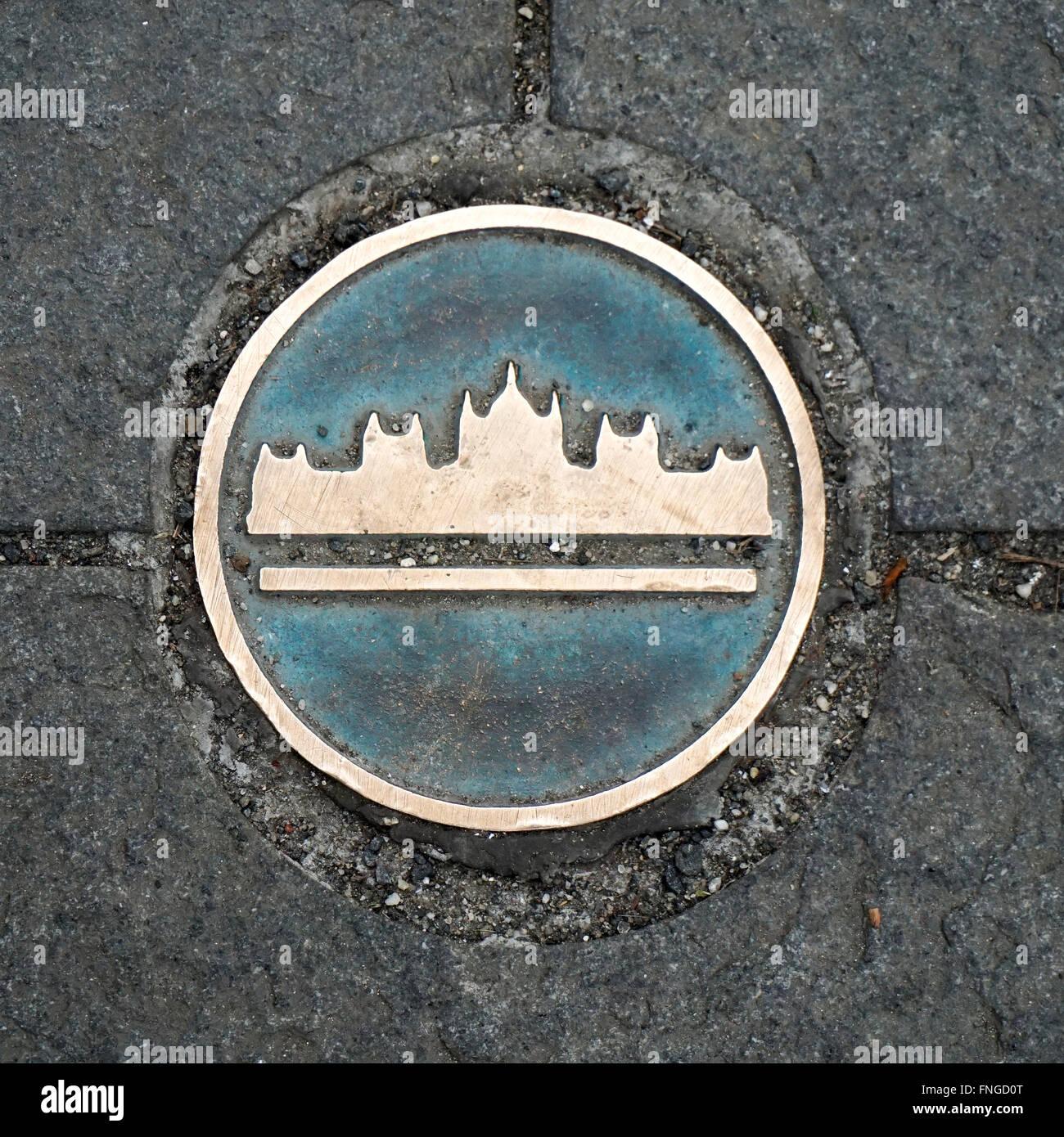 Budapest, Hungary manhole cover - Stock Image