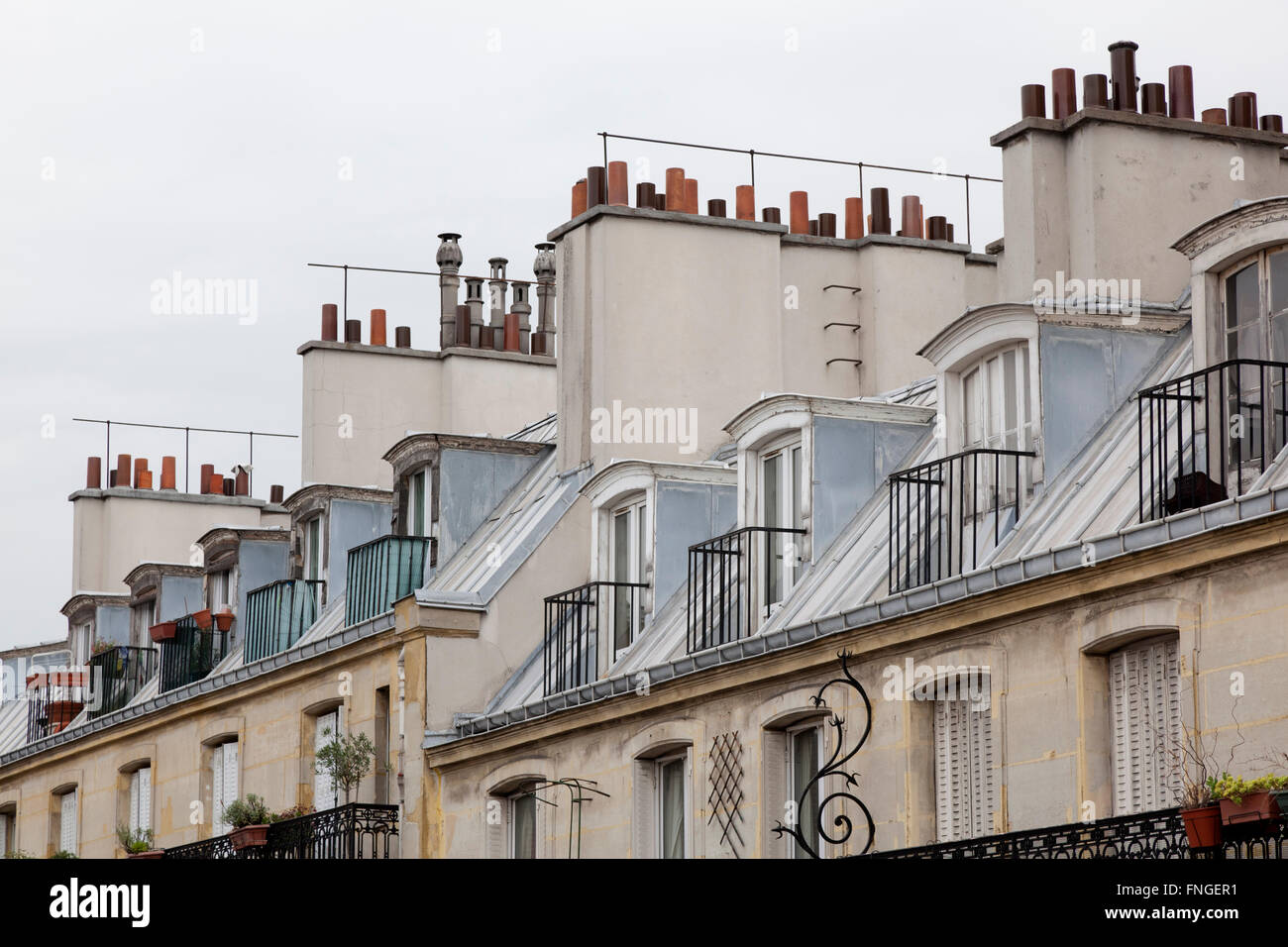 Traditional roofs and chimneys in Paris France - Stock Image