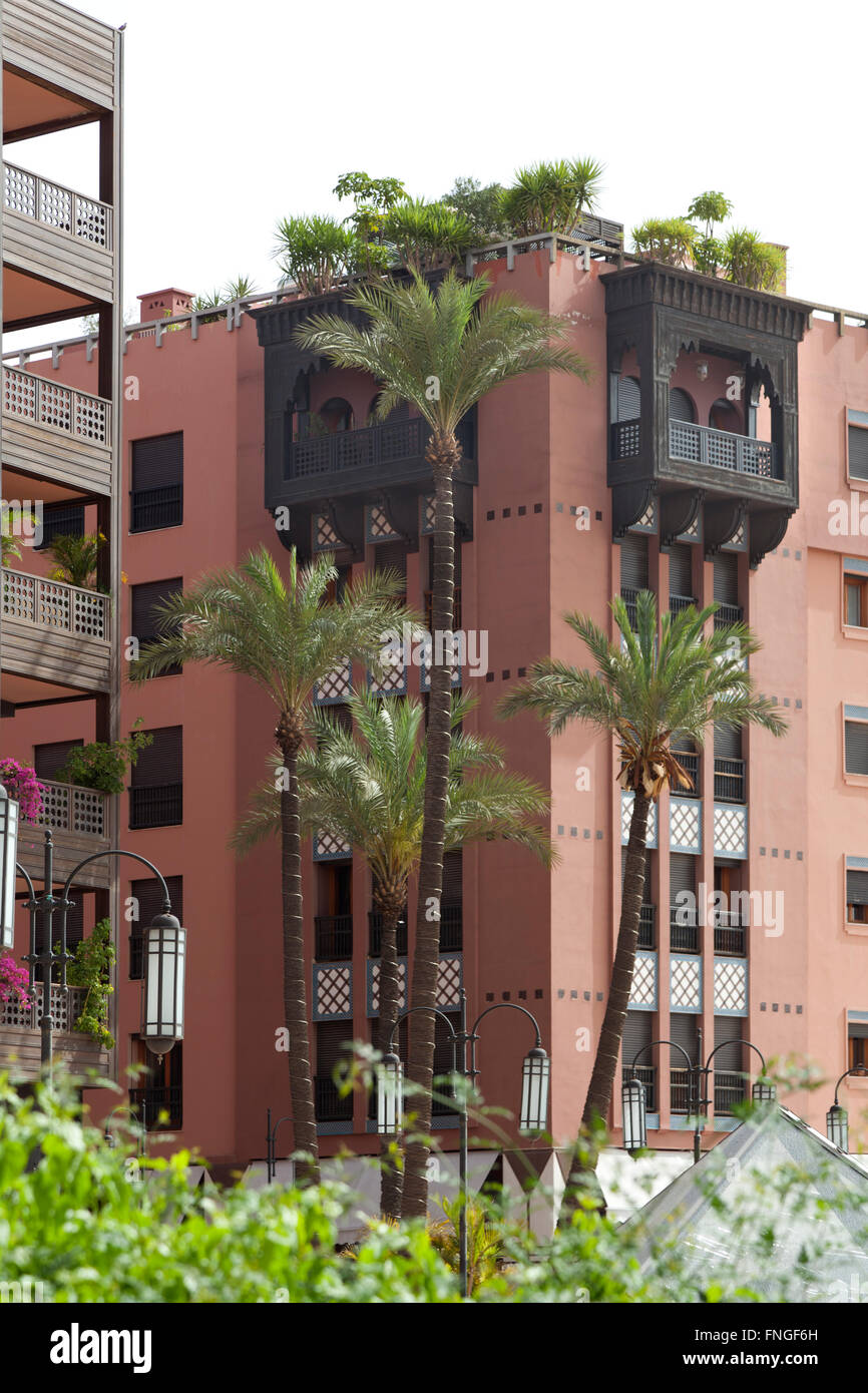 Modern apartments at the Avenue Mohamed V,Marrakesh, Morocco - Stock Image