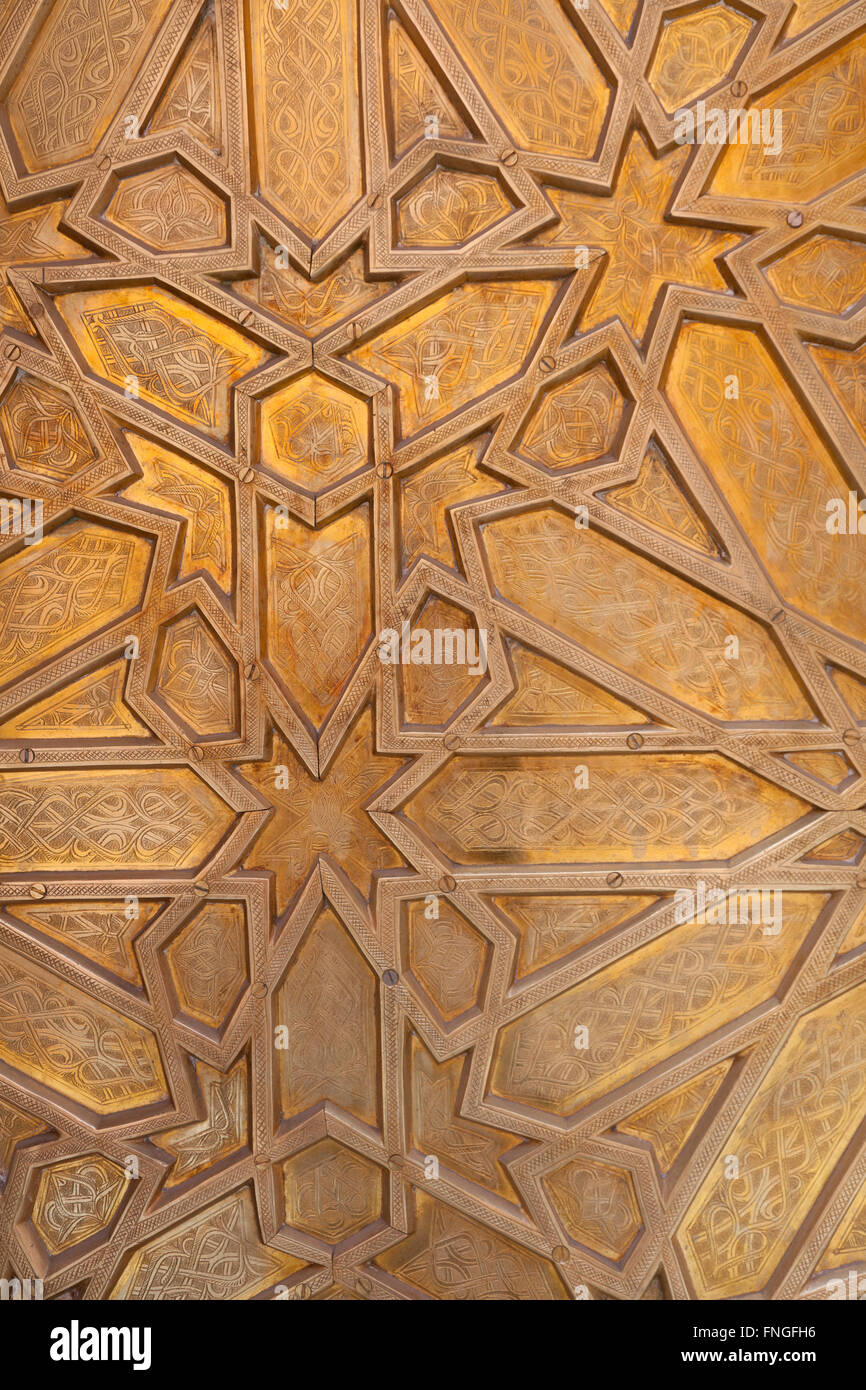 Detail of brass decoration on a Moroccan door, Marrakesh, Morocco - Stock Image