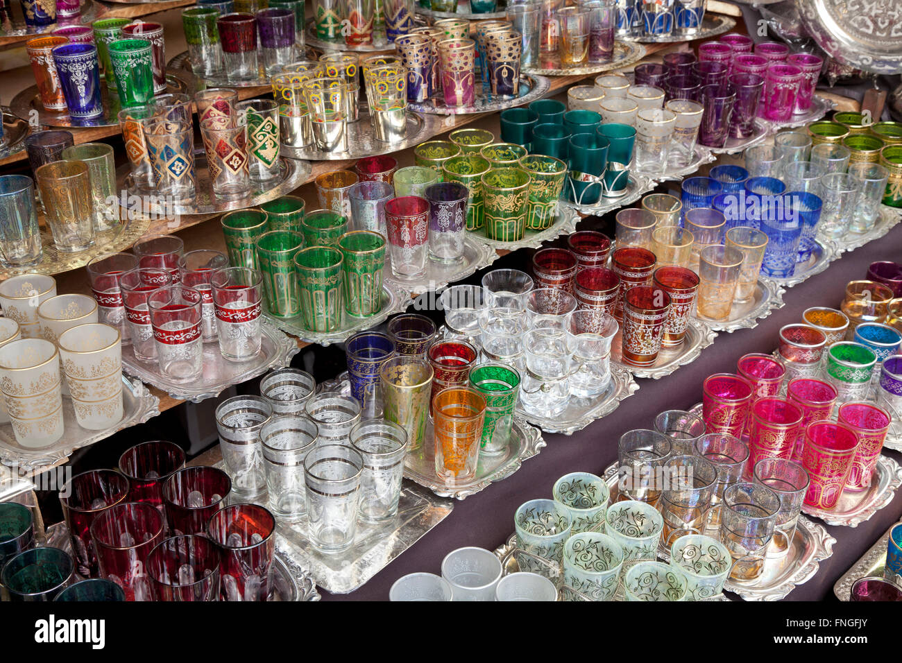 Moroccan glassware for sale in the souk of Marrakesh, Morocco - Stock Image