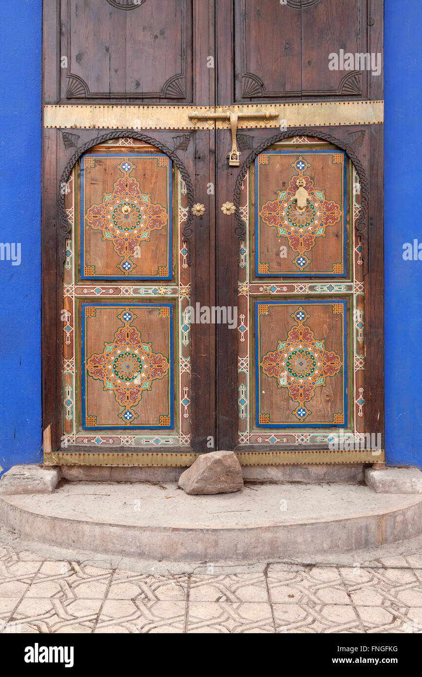 Traditional decorated doors in Marrakesh Morocco - Stock Image