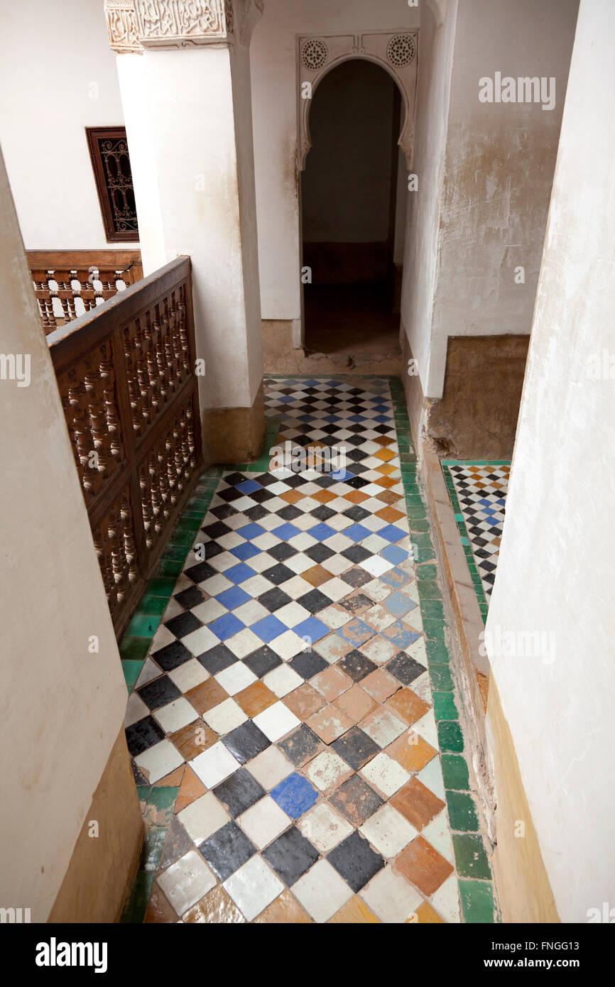 Hallway in the Medersa ben Youssef, Marrakech, Morocco - Stock Image
