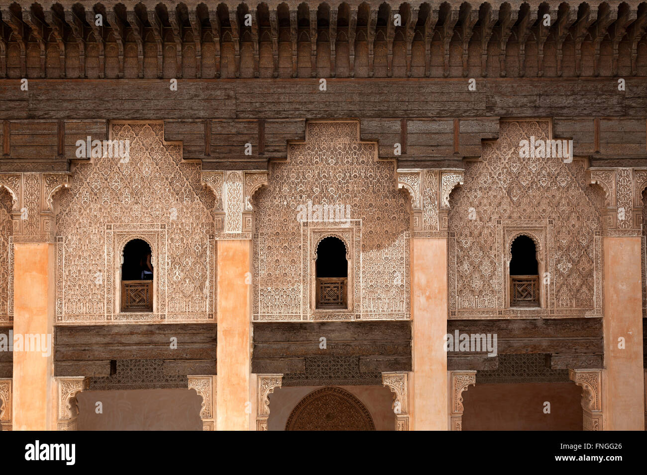 Student rooms in the Medersa ben Youssef, Marrakech, Morocco - Stock Image