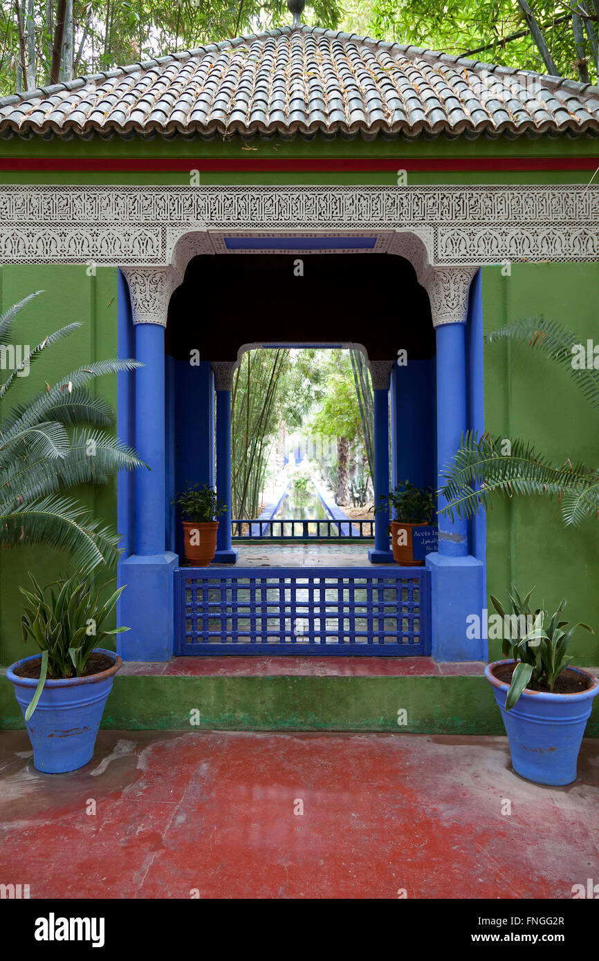 Gazebo in Jardin Majorelle, Marrakesh Morocco - Stock Image
