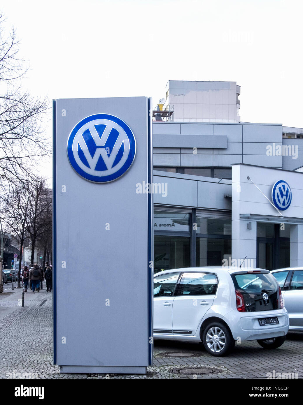 Volkswagen dealership exterior with cars and logo, Berlin Stock Photo