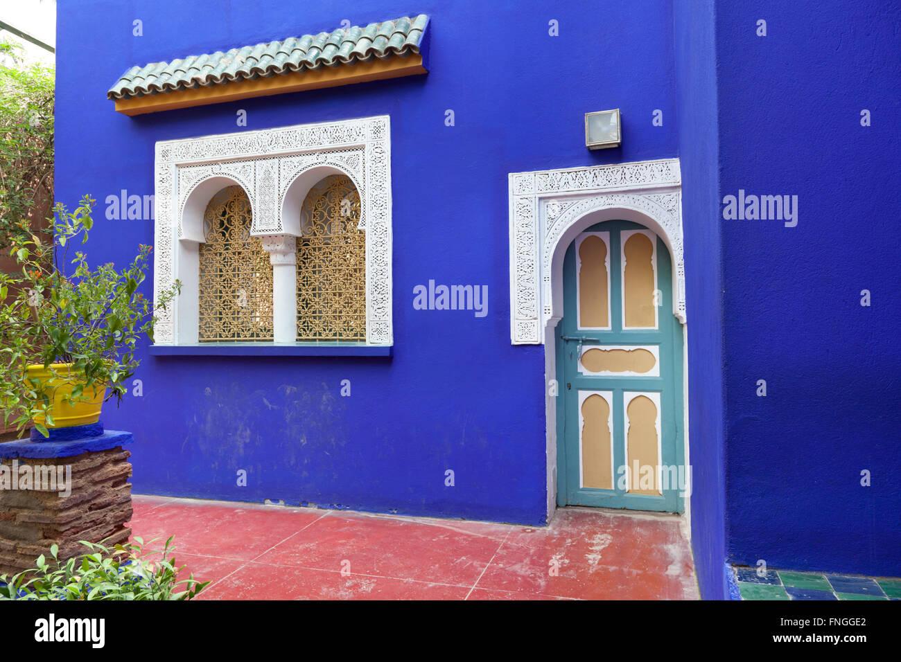 Jardin Majorelle with plants in Marrakesh Morocco - Stock Image
