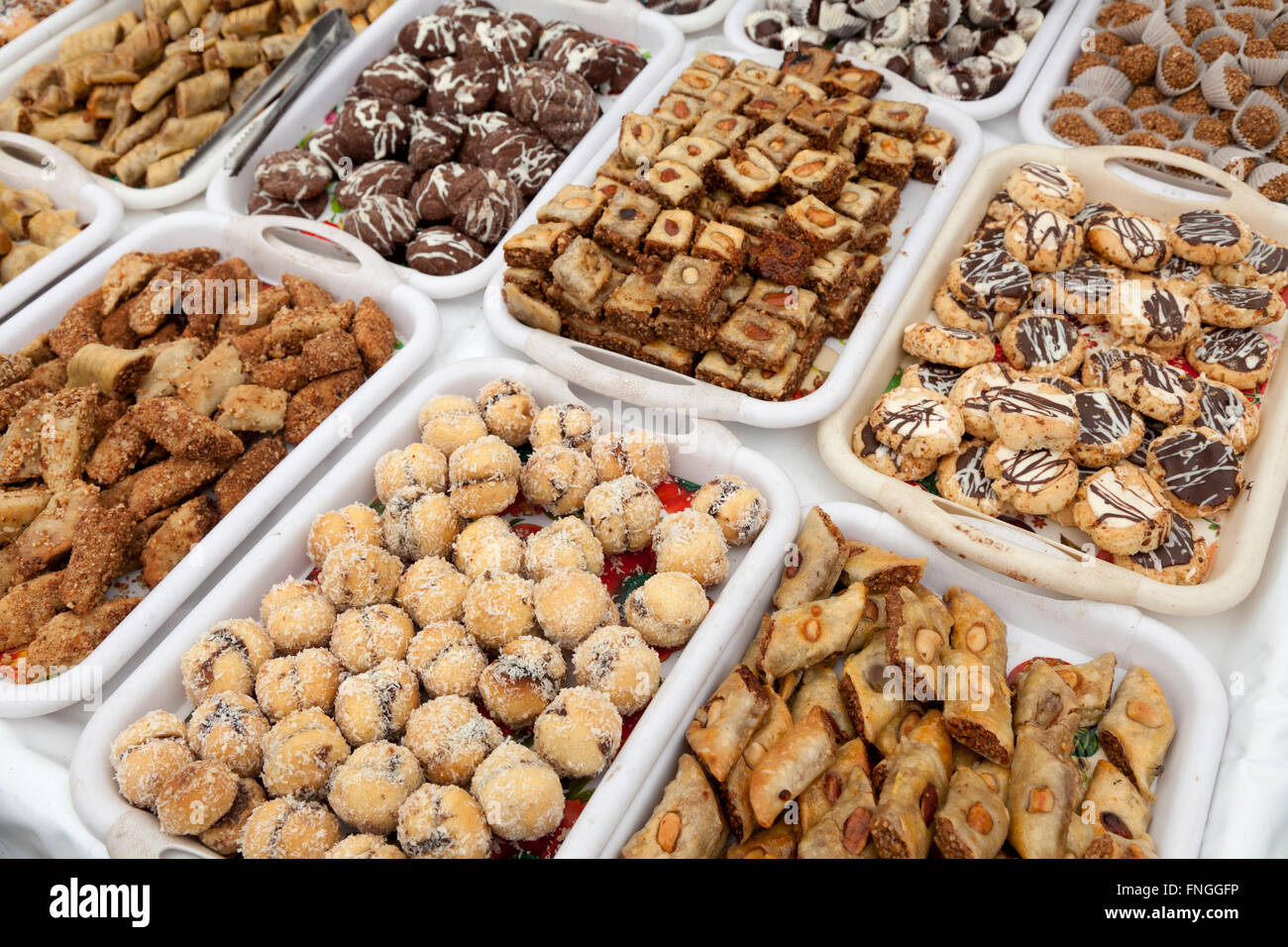 Moroccan cookies at the bakery in Marrakesh, Morocco - Stock Image