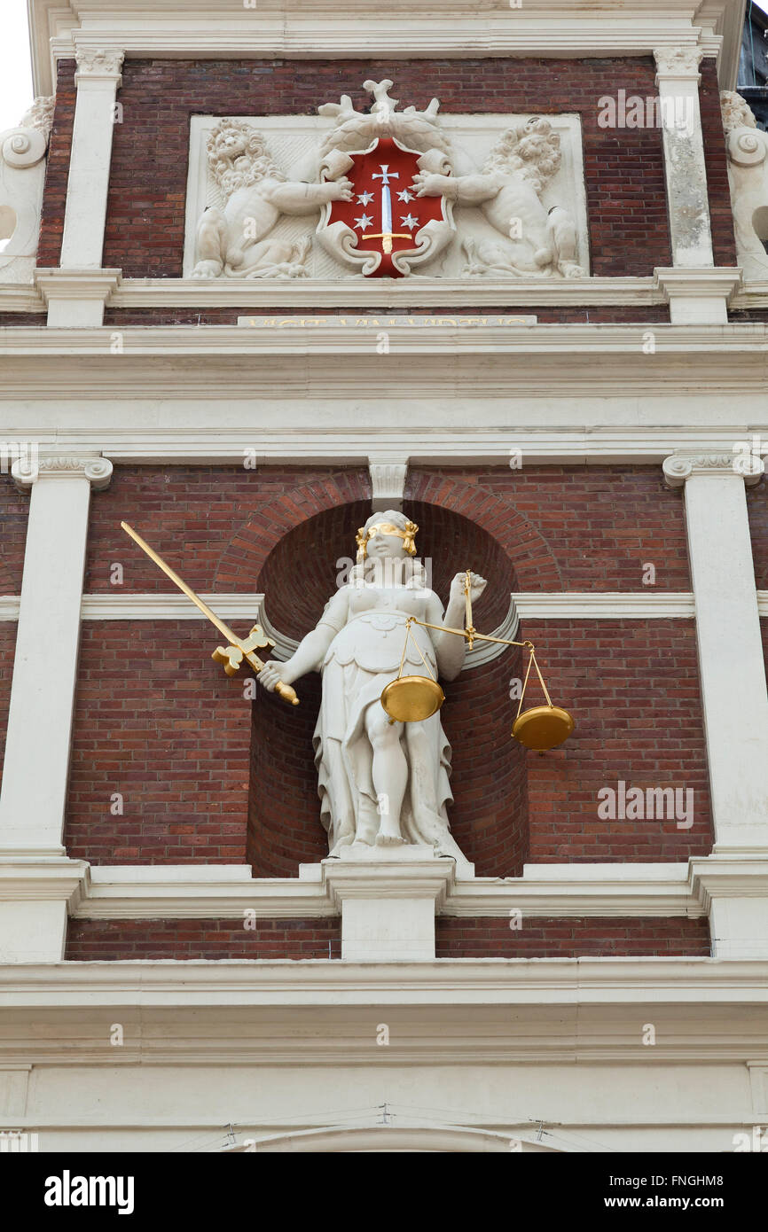 Gable of the Town Hall with Lady Justitia, Grote Markt, Haarlem - Stock Image