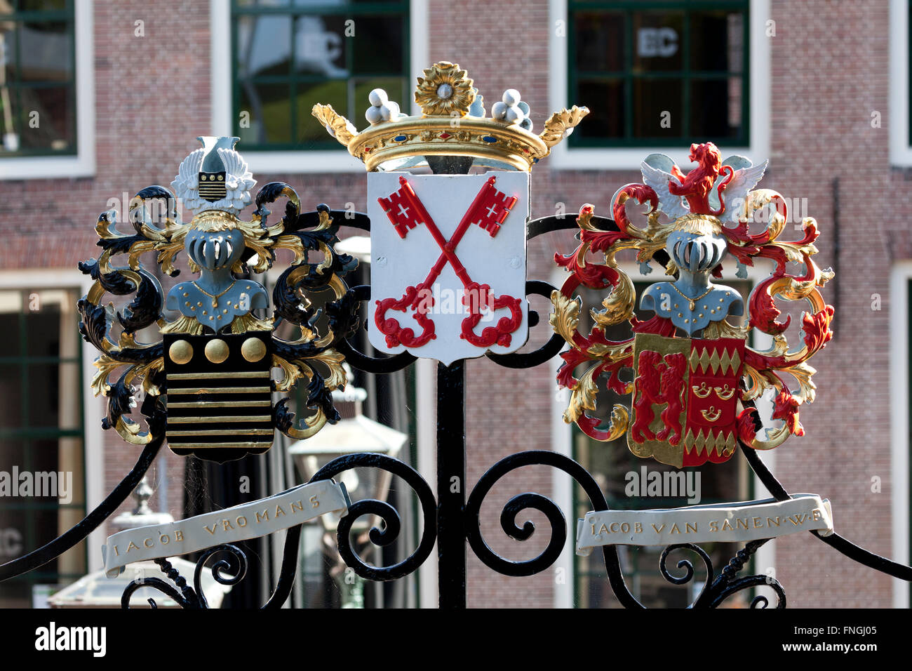 Coat of arms on the gate of the entrance to the Burcht in Leiden - Stock Image