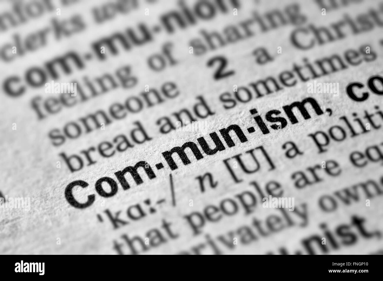 Communism Word Definition Text in Dictionary Page - Stock Image