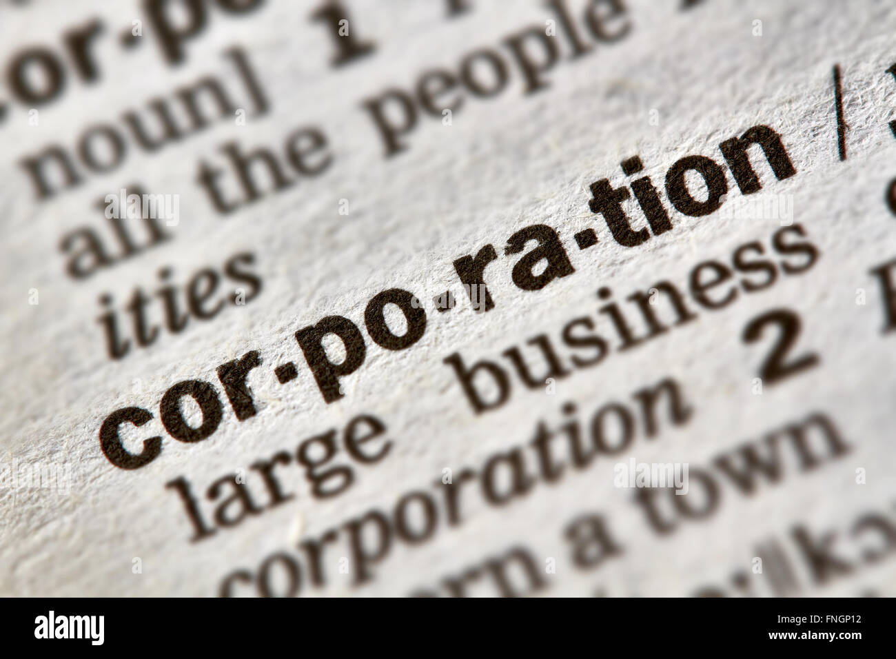 Corporation Word Definition Text in Dictionary Page - Stock Image