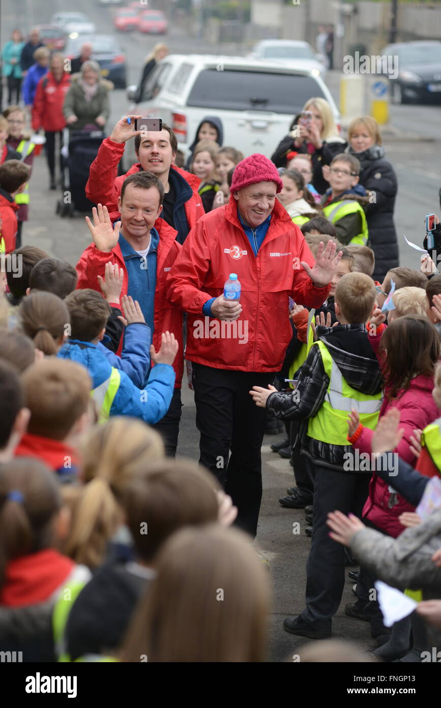 BBC Look North presenter Harry Gration (right) and weatherman Paul Hudson are shown passing through Barnsley, South - Stock Image