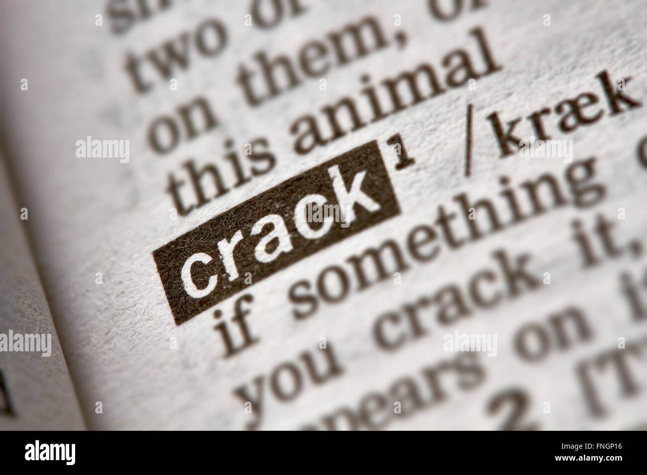 Crack Word Definition Text in Dictionary Page - Stock Image