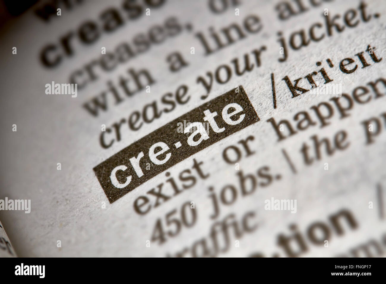 Create Word Definition Text in Dictionary Page - Stock Image