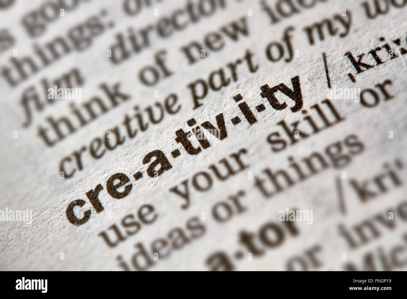 Creativity Word Definition Text in Dictionary Page - Stock Image