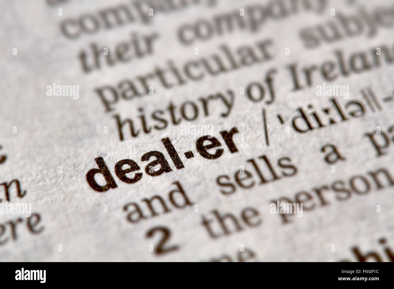 Dealer Word Definition Text in Dictionary Page - Stock Image