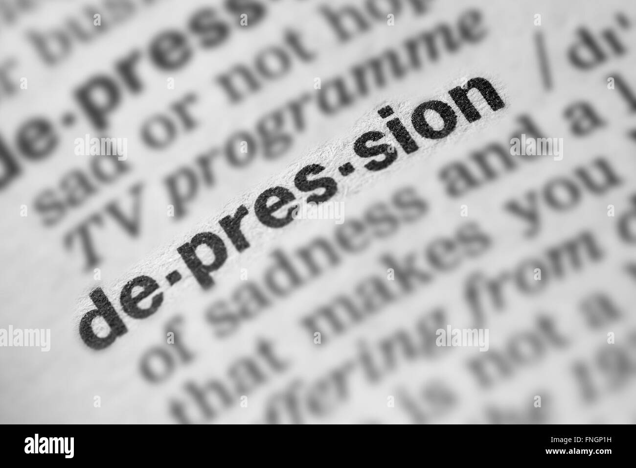 Depression Word Text in Dictionary Page - Stock Image