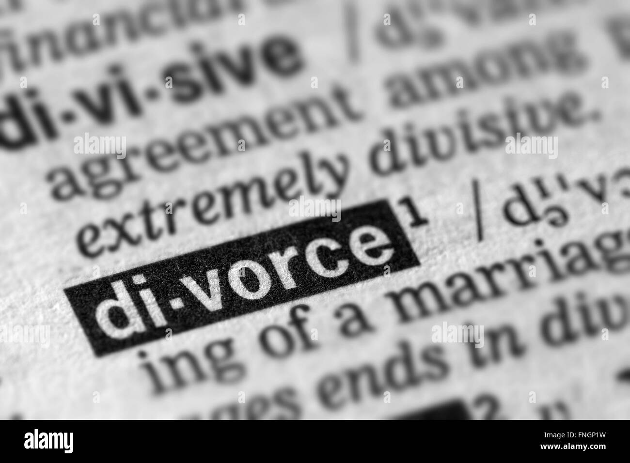 Divorce Word Text in Dictionary Page - Stock Image