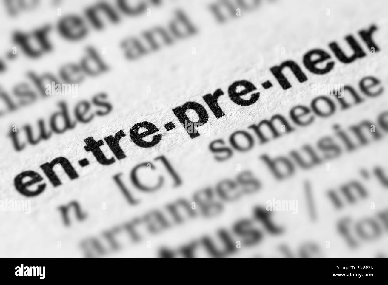 Entrepreneur Definition Word Text in Dictionary Page - Stock Image