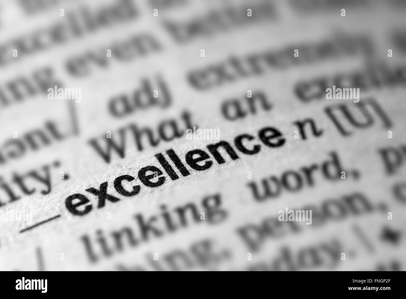 Excellence Definition Word Text in Dictionary Page - Stock Image