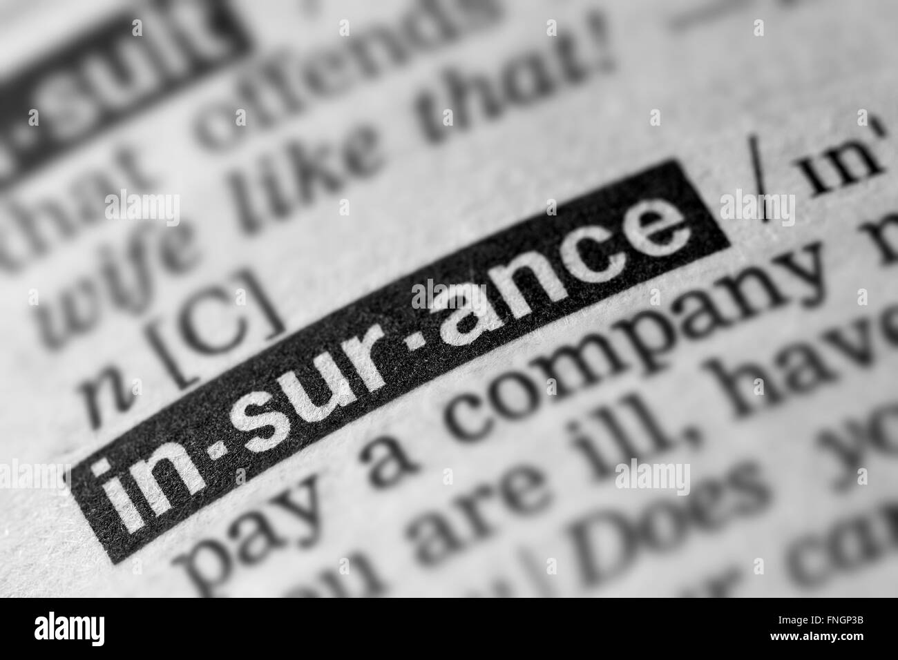 Insurance Definition Word Text in Dictionary Page - Stock Image