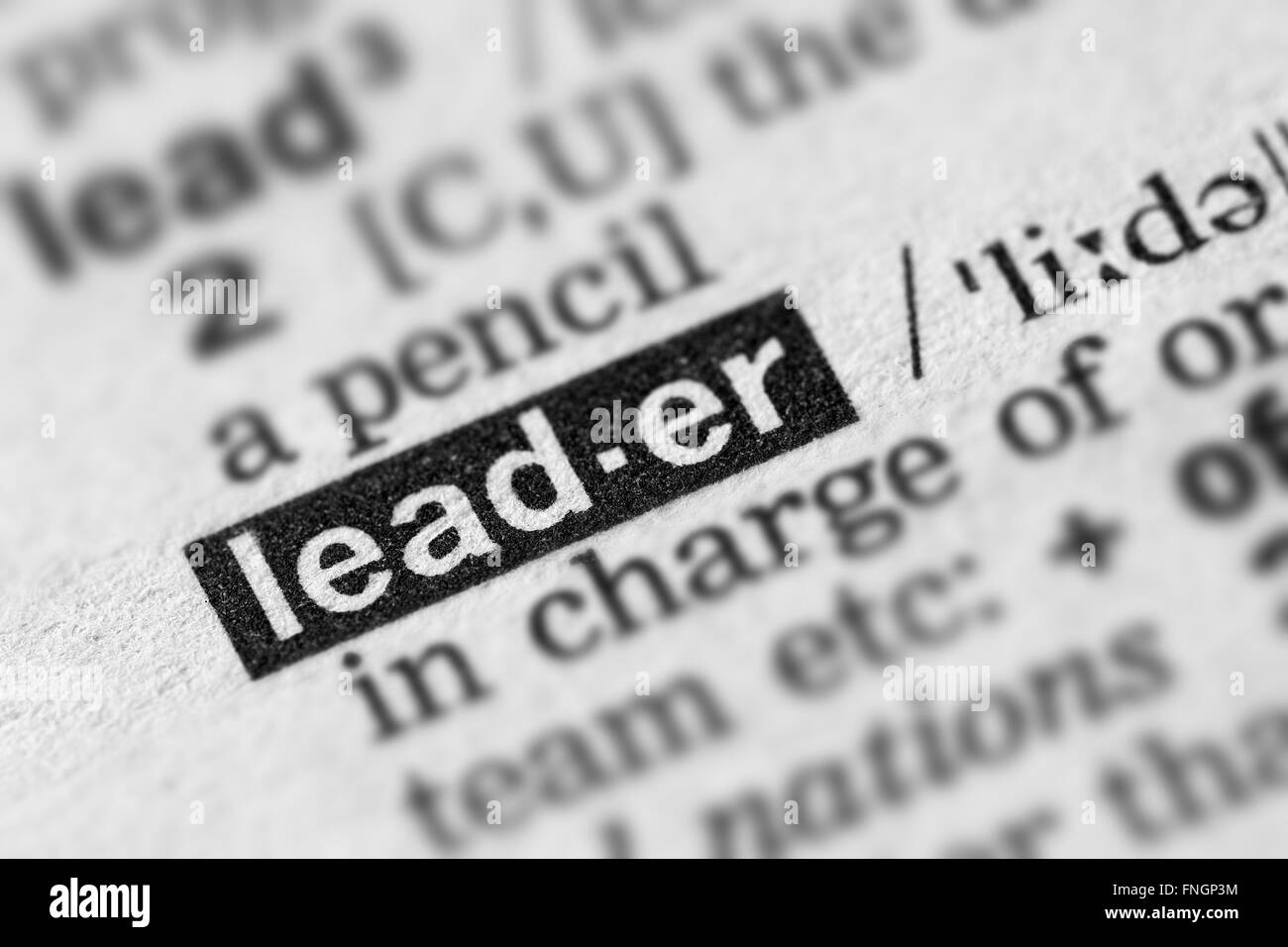 Leader Definition Word Text in Dictionary Page - Stock Image
