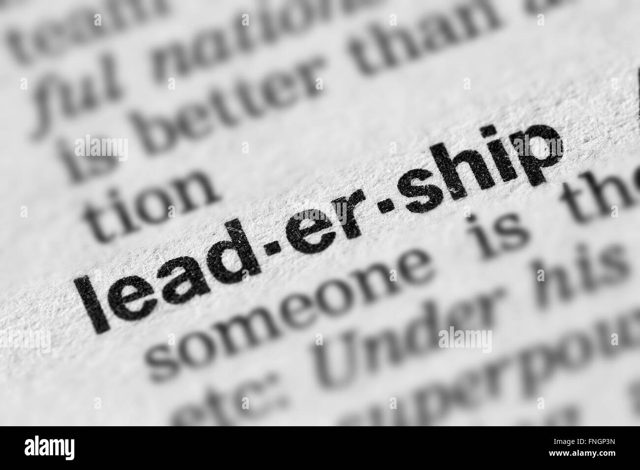 Leadership Definition Word Text in Dictionary Page - Stock Image