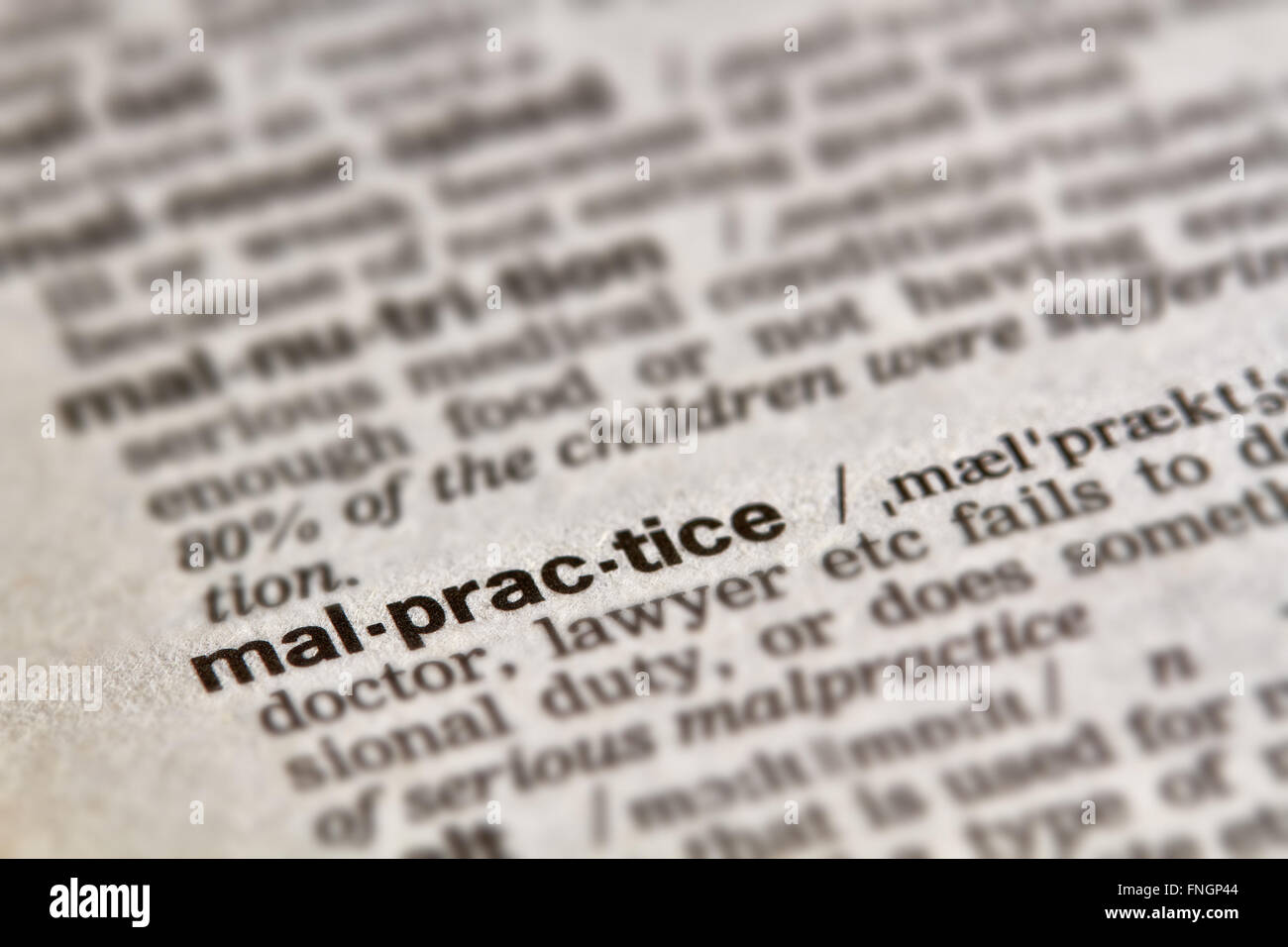 malpractice word definition text in dictionary page stock photo