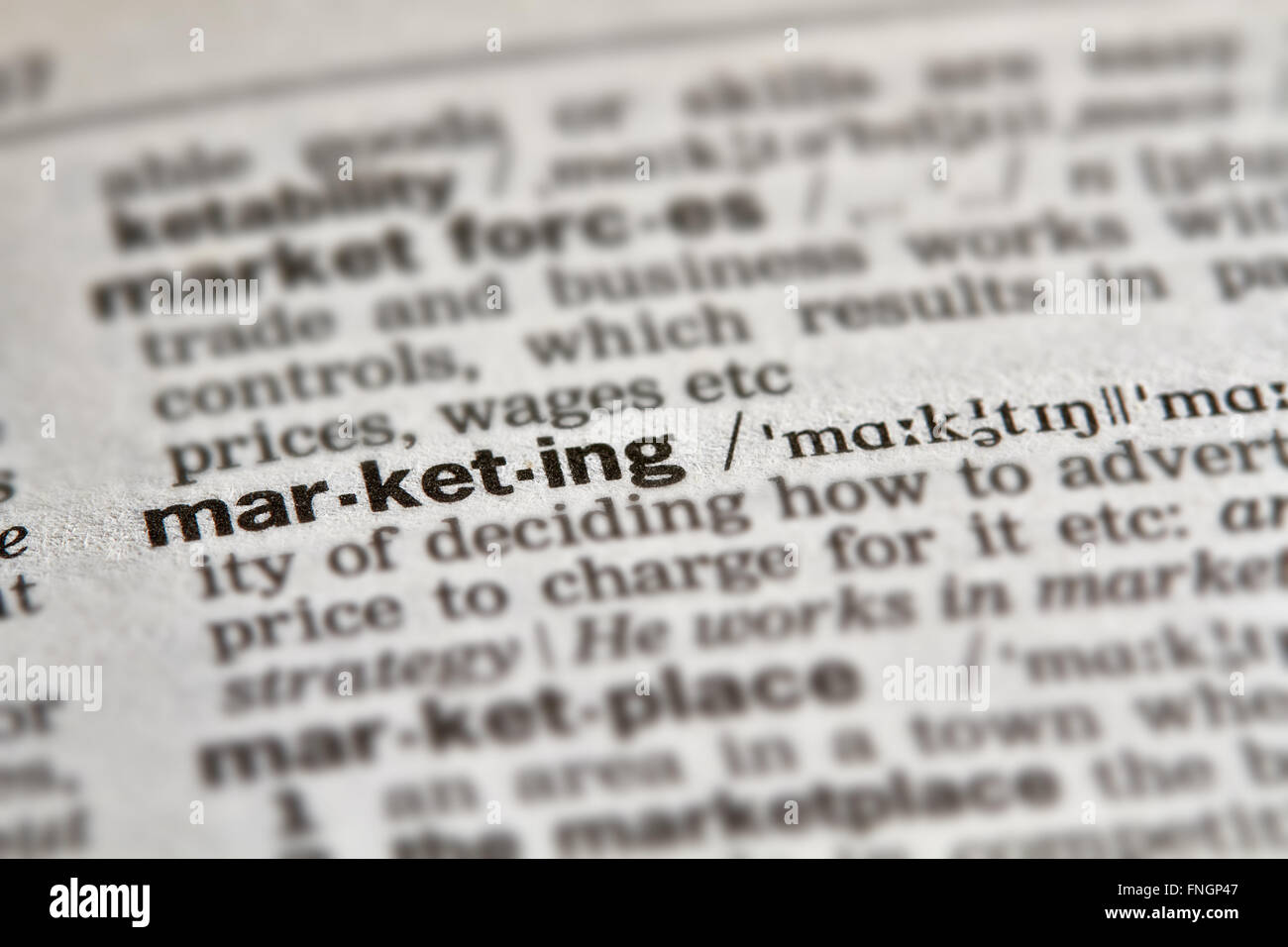 Marketing Word Definition Text in Dictionary Page - Stock Image