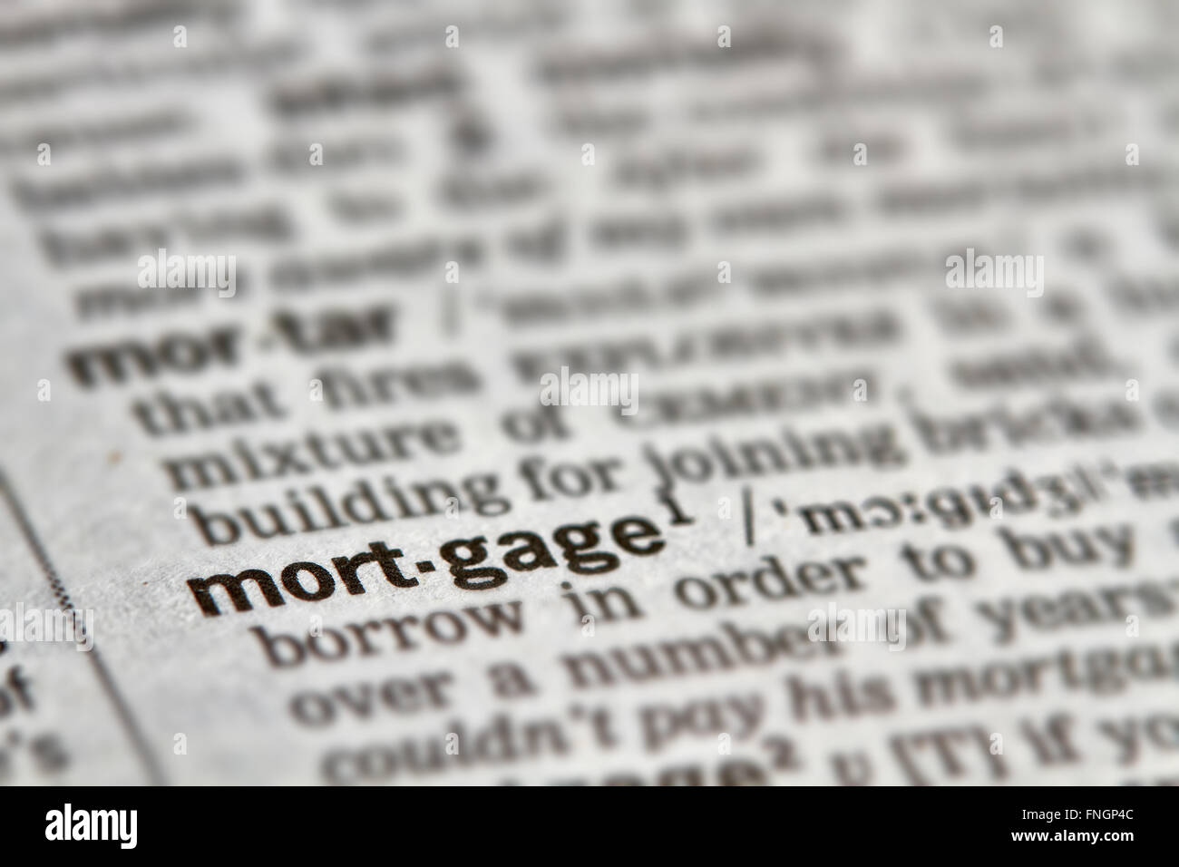 Mortgage Word Definition Text in Dictionary Page - Stock Image
