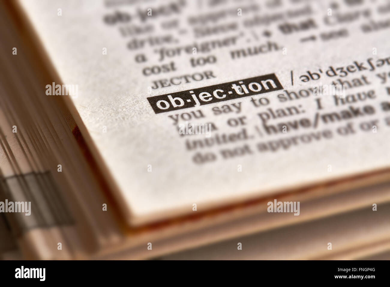 Objection Word Definition Text in Dictionary Page - Stock Image